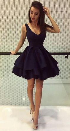A-Line Deep V-Neck Short Black Satin Homecoming Dress from prom dress