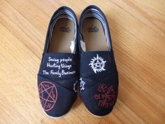 Handpainted Supernatural Shoes by InfiniteEmma on Etsy Supernatural Shoes, Painted Shoes, Designer Shoes, Me Too Shoes, What To Wear, Shoe Painting, Toms, High Heels, Converse