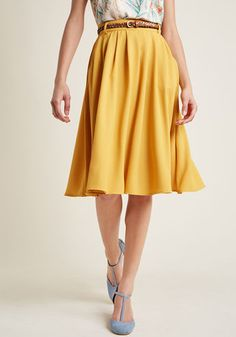 Breathtaking Tiger Lilies Midi Skirt in Goldenrod