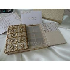 Gold Embroidery Box ♥♥ B'ful, Exclusive - Custom-made Indian, Desi Wedding Cards  @ NOIDA, New Delhi NCR http://www.Upani.in/embroidered-invitations.html