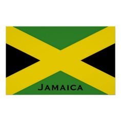 This flag of Jamaica goes to the edge of the frame as protrayed in the real national flag. The Jamaican. Jamaica Flag, Negril Jamaica, Caribbean Flags, Word Poster, Filipino Tattoos, Chest Piece Tattoos, Flag Colors, Flags Of The World, National Flag