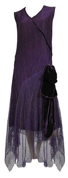 "1920s Royal Purple Silk Net Tea Dress with Velvet Bow <a href=""http://fashion.1stdibs.com/avl_item_detail.php?id=52160"" rel=""nofollow"" target=""_blank"">fashion.1stdibs.c...</a>"