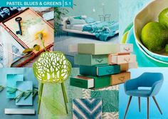 """Nature plays a central role in the """"Aquatic & Botanical"""" theme. Mood board by Milou Ket. Color Trends, Design Trends, 2016 Trends, Kitchen Colors, Blue Moon, Home Textile, Colorful Interiors, Home Kitchens, Table Decorations"""