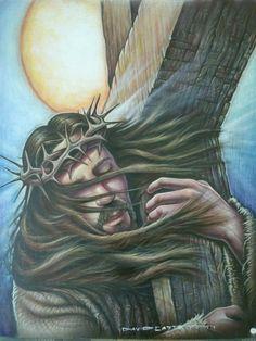 Salvation - Jesus carrying the cross – jesus, jesus christ, christ art print Catholic Pictures, Pictures Of Christ, Jesus Christ Images, Christian Paintings, Christian Artwork, Jesus Carrying Cross, Christ Tomb, Jesus Reyes, Cross Drawing