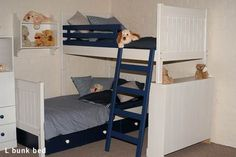 definitely diy! two toddler beds, bookcase for support of bunk