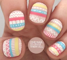 One Nail To Rule Them All: Pastel Tribal Nail Art for Divine Caroline