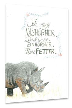Bleistiftzeichnung Nashorn plus Text