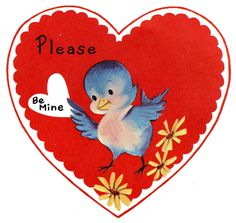 9 Retro Valentines with Animals! : Retro Valentine Image - Cute Lil Bluebird - The Graphics Fairy Free Valentines Day Cards, Valentines Day Holiday, Happy Valentines Day Images, My Funny Valentine, Vintage Valentine Cards, Little Valentine, Vintage Greeting Cards, Valentine Stuff, Valentine Hearts
