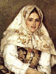 """Siberian Beauty"" or ""Portrait of Ekaterina Alexandrovna Rachkovskaya"" – a painting by Vasily Surikov, 1891. #art #painting #Russian #costume"