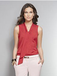 In pale pink   New York & Company - View All - One-Pocket Short Sleeve Silky Blouse
