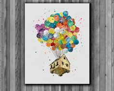 Up - Balloon House - Pixar - Disney - Art Print, instant download, Watercolor Print, poster
