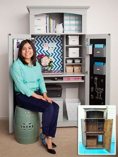 See how one reader transformed her home's dated armoire into a cute, convertible workspace
