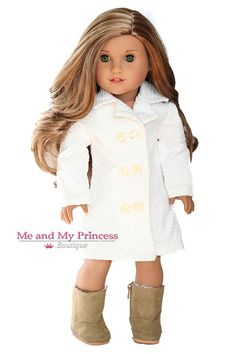 PURCHASED ITEM - Off White Corduroy Coat for 18 inch American Girl Doll Clothes