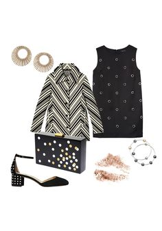 Mod Squad LBD || Channel the Swinging '60s with a grommet-detail shift,bold graphic prints, and starburst jewels. Wear it with a simple nude lipstick.