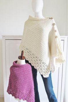 Pattern for Crochet Poncho-Textured- Crochet Dreamz Crochet Scarves, Crochet Shawl, Crochet Clothes, Crochet Stitches, Knit Crochet, Knitted Shawls, Crochet Vests, Crochet Cape, Crochet Edgings