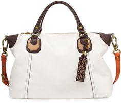 Oryany Maria Colorblock Leather Satchel Bag, White Multi