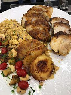 Aprenda como preparar o delicioso Pernil ao limão e a farofa de forno com uva passa da Ana Maria Braga no programa mais você.