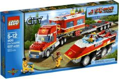 LEGO CITY Fire Transporter 4430 *** Be sure to check out this awesome product. (This is an affiliate link) Legos, Lego City Helicopter, Easy Lego Creations, Lego Penguin, Lego City Fire, Van Lego, Lego Truck, Lego Boards, Lego City Police