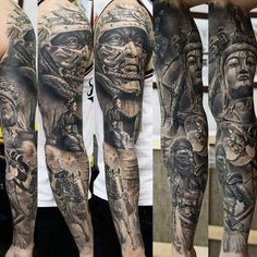 Realistic black and gray tattoo sleve art works by Dmitriy Samohin Leg Tattoos, Arm Tattoo, Girl Tattoos, Tattoos For Guys, Tattoo Art, Family Sleeve Tattoo, Classy Hair, Samourai Tattoo, Ronin Samurai