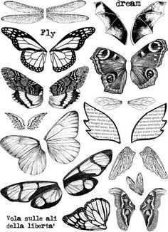 WINGS set of unmounted rubber stamps by cherrypieartstamps, $24.00