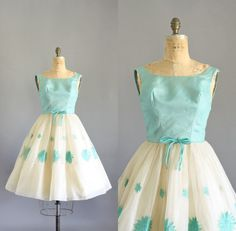 Vintage 50s Dress/ 1950s Party Dress/ Aqua & by WhenDecadesCollide, $145.00
