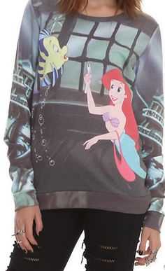 Disney Gifts for Teen Girls: The Little Mermaid Pullover Top @ Hot Topic Disney clothes Disney Sweatshirts, Disney Shirts, Disney Outfits, Disney Clothes, Disney Sweaters, Visual Kei, Cyberpunk, Rockabilly, Hot Topic Sweaters