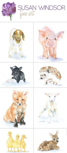Watercolor fine art prints, greeting cards, and gifts! by SusanWindsor - Baby animal water color prints. Perfect for a nursery. Painting & Drawing, Watercolor Paintings, Watercolor Water, Watercolor Artists, Tattoo Watercolor, Baby Animals, Cute Animals, Draw Animals, House Drawing