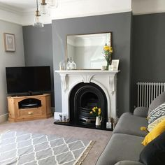 A characterful fireplace is such a nice centrepiece to a living room - Vorhang 1930s Living Room, Living Room Grey, Home Living Room, Living Area, Living Room Decor Colors, Living Room Designs, 1930s House Interior Kitchens, Mustard Living Rooms, Living Room Inspiration