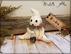 Another Little boo folk art paper clay by RaggedyPantsDesigns