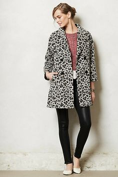 Leopard Trapeze Coat #anthropologie @MeredithTichenor I thought of you immediately when I saw this!