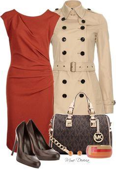 """MK bag #3"" by madamedeveria ❤ liked on Polyvore... LOVE LOVE LOVE the Orange dress!"