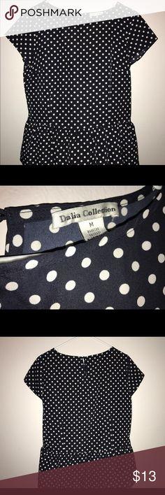 White Polka dot peplum shirt size M Excellent condition - polyester Dalia Tops Blouses