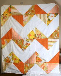 Orange Chevron Striped Quilt, Picnic Blanket, 6 ft. X 4 ft.