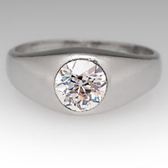 Antique Mens Old European Cut Diamond Ring Gypsy Set, 1926 Texas Oil Company Gift