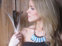 Turquoise & Bone Statement Tribal Necklace with Bronze Crystals via Etsy.