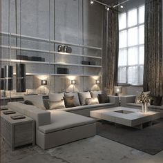 .dramatic white loft living room