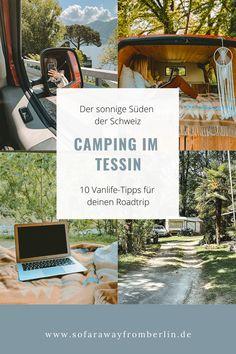 Campen im Tessin? Eine wunderbare Idee – mit der du vermutlich aber leider nicht allein bist. Hier findest du 10 Tipps, die wir gern vorab gekannt hätten. Camping Glamping, Roadtrip, Van Life, Sustainability, Lettering, Travel, Spain Travel, Destinations, Viajes