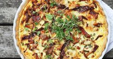 Helppo pekoni-kantarellipiirakka | Maku Vegetable Pizza, Vegetables, Food, Essen, Vegetable Recipes, Meals, Yemek, Veggies, Eten