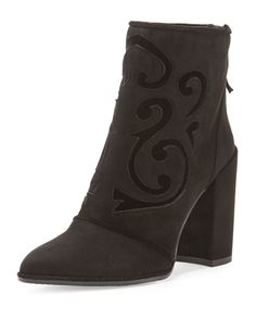 Shop All Women's Designer Shoes at Neiman Marcus Velvet Ankle Boots, Ankle Shoes, Black Ankle Boots, High Heel Boots, Black Booties, Ankle Booties, Bootie Boots, High Heels, Stuart Weitzman