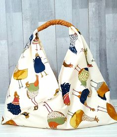 8dada8a9be CHICKEN MARKET BAG Extra Large Japanese Style Origami Bento Bag Cork  Leather Fabric Handle Shopping Beach Holiday Travel French Hen Handmade