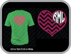 Chevron heart monogram custom shirt, shown with round monogram on back of shirt - pinned by pin4etsy.com