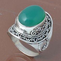 925 STERLING SILVER DESIGNER GREEN ONYX RING 8.96g DJR6772 #Handmade #Ring