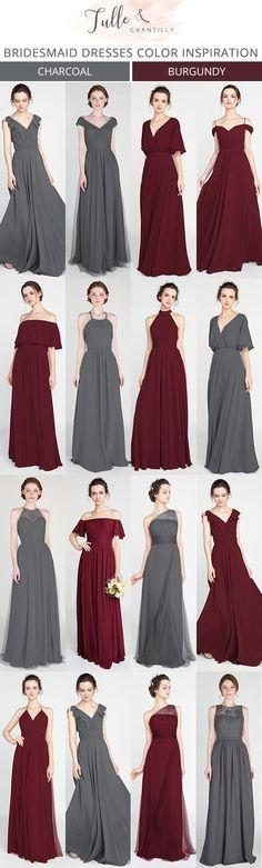 burgundy and charcoal grey bridesmaid dresses #bridalparty #bridesmaiddresses #weddinginspiration #weddingcolors