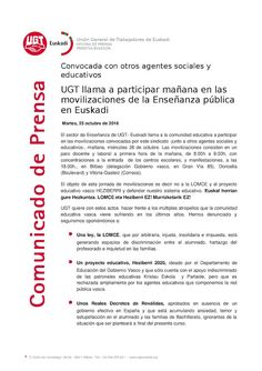 SINDICATO UGT SANIDAD EUSKADI: UGT llama a participar mañana en las movilizacion...