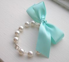 Tiffany Blue Ribbon Swarovski Bracelet. $28.00, via Etsy.