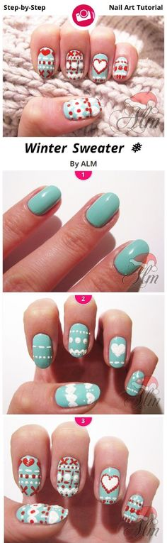 #Winter #Sweater #Nail #Art #Tutorial - 13 Wintery #DIY Nail Art Tutorials | GleamItUp