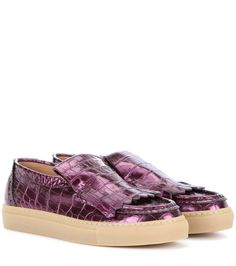 DRIES VAN NOTEN Embossed Metallic Patent Leather Slip-On Sneakers. #driesvannoten #shoes #flats