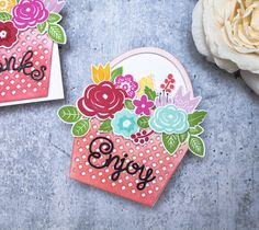 Bloomin' Cute Floral Baskets » Paper Suite Shaped Cards, Color Effect, Black Paper, New Leaf, Gift Packaging, Unique Colors, Floral Arrangements, Baskets, Paper Crafts