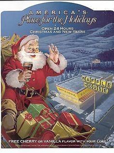 2004-Waffle-House-Coca-Cola-Santa-SLEIGH-PICTURE-HOLIDAY-WINDOW-ADVERTISEMENT Coke Santa, Coca Cola Santa, Coca Cola Christmas, Retro Christmas, Christmas Makes, Christmas And New Year, Christmas Printables, Christmas Themes, Coca Cola Poster