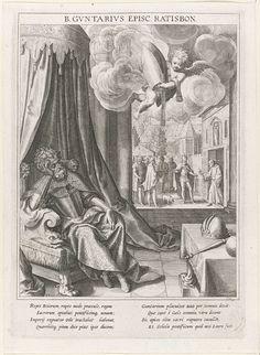 Raphaël Sadeler (I) | Keizer Otto de Grote kiest de Heilige Gunther als bisschop van Regensburg, Raphaël Sadeler (I), Johann Mathias Kager, Matthäus Rader, 1615 | Op de voorgrond keizer Otto de Grote slapend in een stoel. In de lucht vliegt een engeltje met een mijter. Keizer Otto krijgt in zijn droom een visioen dat hij de eerste geestelijke die hij bij ontwaken tegenkomt moet uitroepen als bisschop van Regensburg. Op de achtergrond ontmoet keizer Otto na zijn ontwaken de Heilige Gunther…